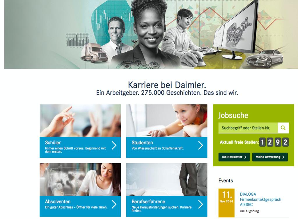 Überblick Karriereseite Daimler (www.daimler.com/karriere)