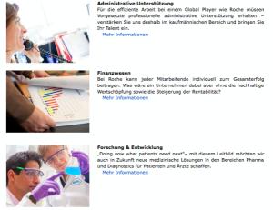 Administration, Finanzwesen und Forschung und Entwicklung - wie werden diese Bereiche dargestellt? (www.careers.roche.com/germany/de/darum_roche/arbeitsbereiche.html)