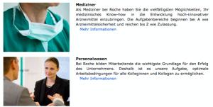 Kleider machen Leute: Mediziner oder Personalerin? (www.careers.roche.com/germany/de/darum_roche/arbeitsbereiche.html)