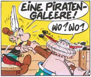 Asterix und Obelix sitzen rudernd nebeneinander, als Asterix eine Piratengaleere entdeckt.