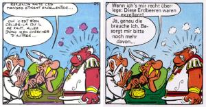 """Ein Panel aus zwei verschiedenen Ausgaben des Bandes """"Asterix, der Gallier""""."""