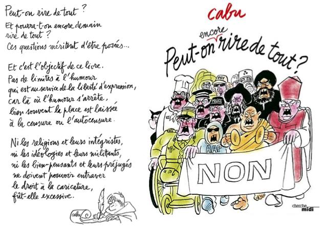 "Cabu: ""Peut-on encore rire de tout""? (rechter Teil der Abbildung: Cover des Buches). Das Buch ist erschienen am 15.03.2012."