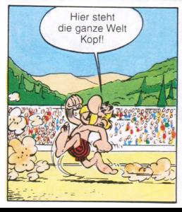 Die Figur des Asterix weist den Leser darauf hin, dass die Welt hier Kopf steht.